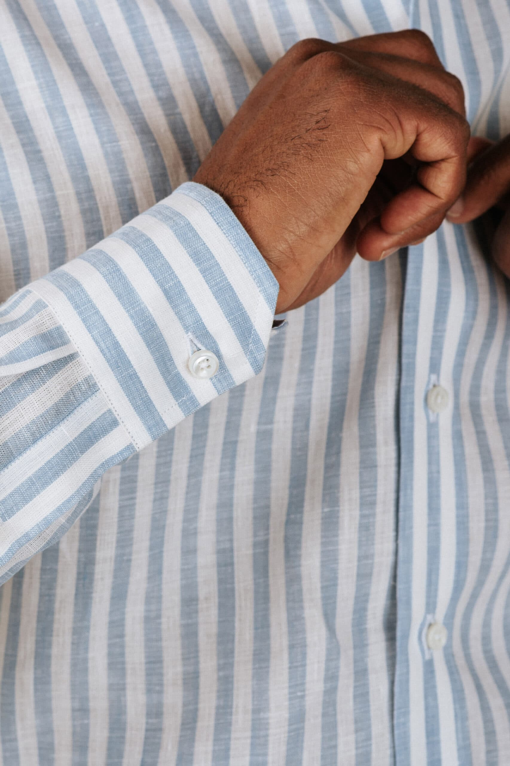 linnen maarshirt blauw wit