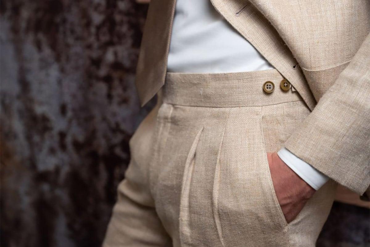 linnen broek zonder riem op maat