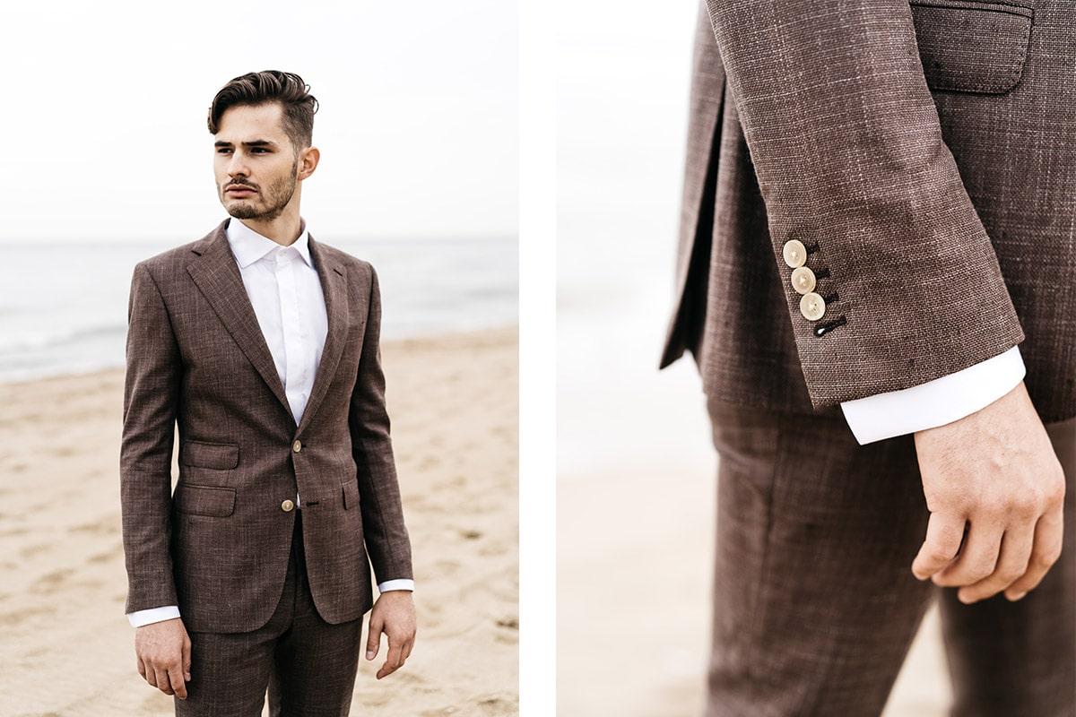 Donkerbruin strand pak, zijde linnen wol