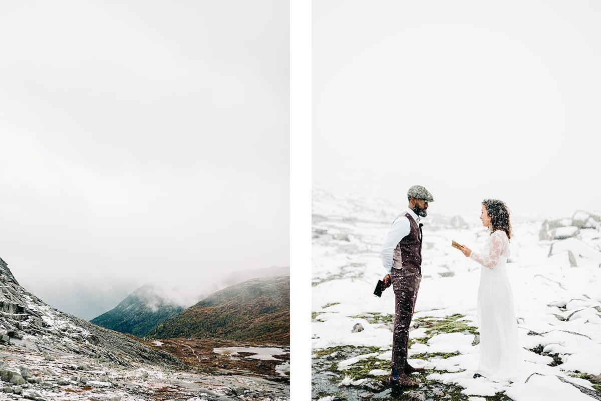 Winters trouwpak bruintint