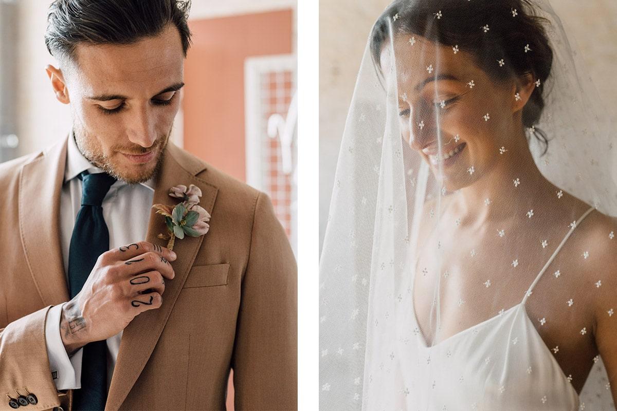 Rosé Trouwkostuum met bruid
