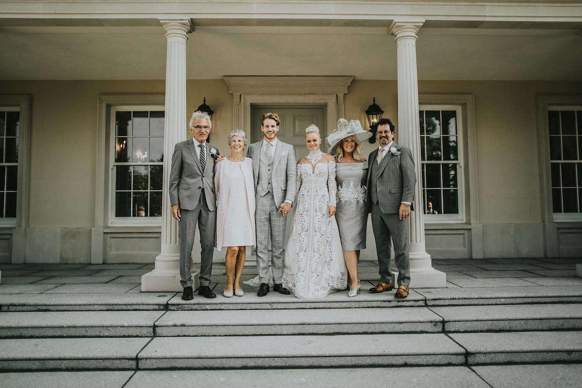 Familie portret bruiloft
