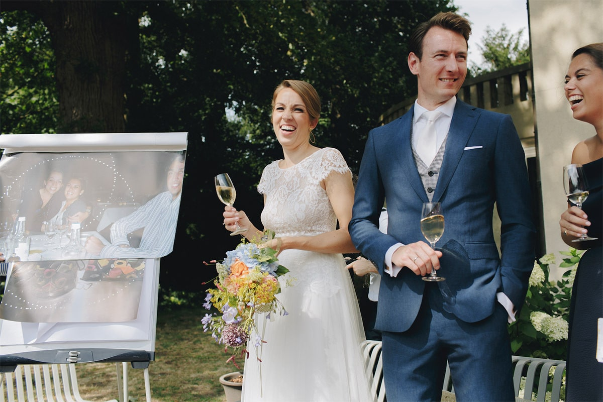 buiten bruiloft champagne