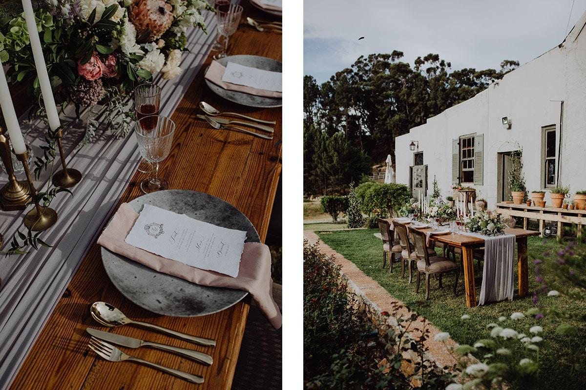 Gedekte tafel voor bruiloft in achtertuin