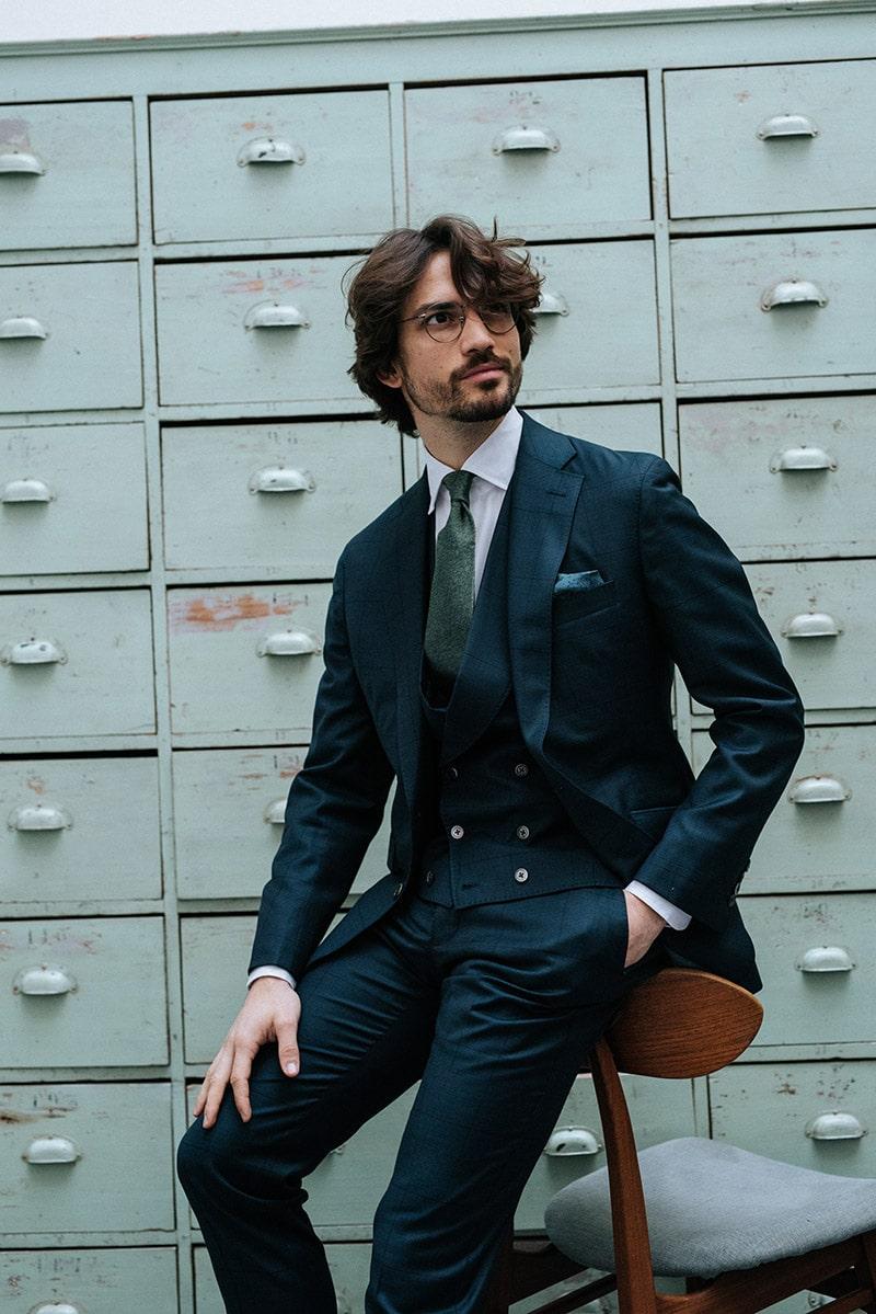 maatpak met waistcoat donkerblauw