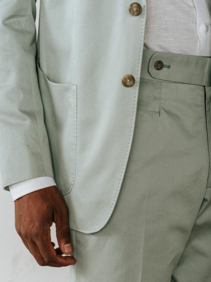 Mint groen maatpak, Mint groen trouwpak, Patch pockets