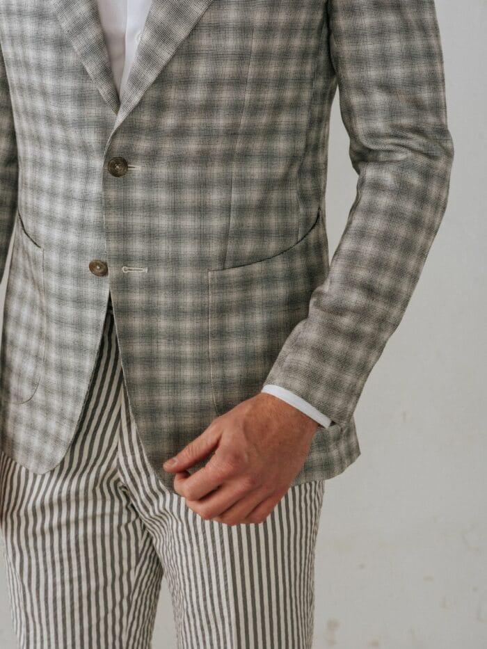 Decent ruitenjasje, Patch pocket jasje, grijze knoop