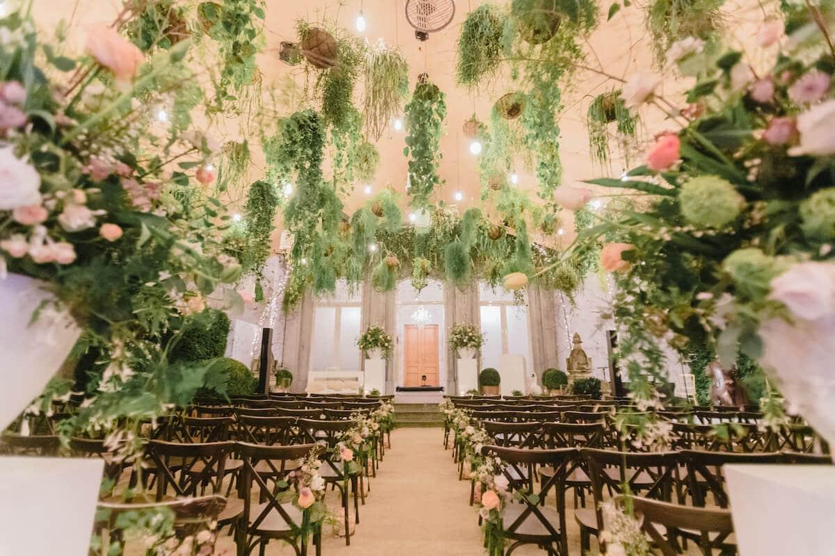 Groene bruiloft, groene aankleding