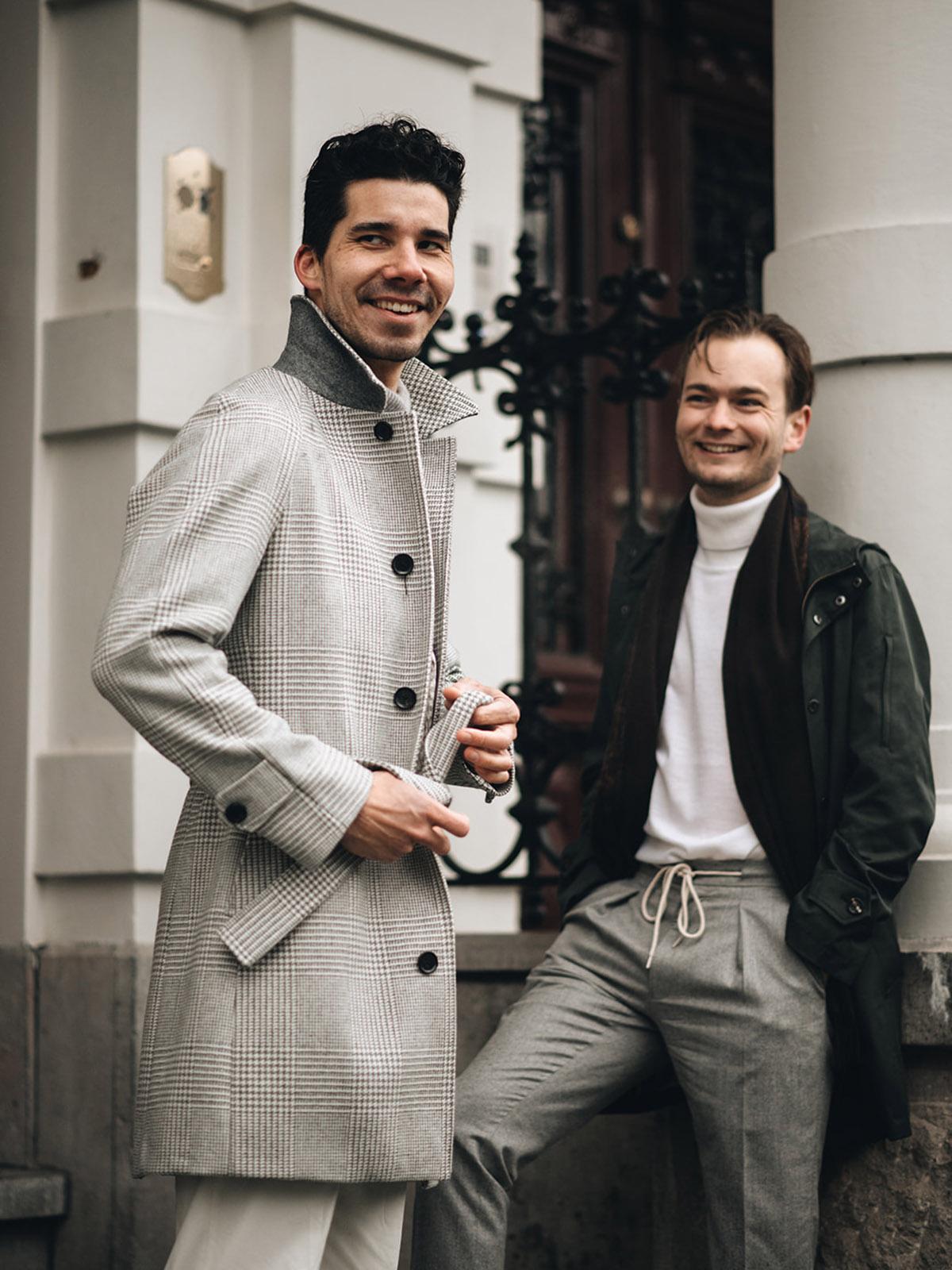 Prince op Wales dugdale overcoat, touwtjes pantalon