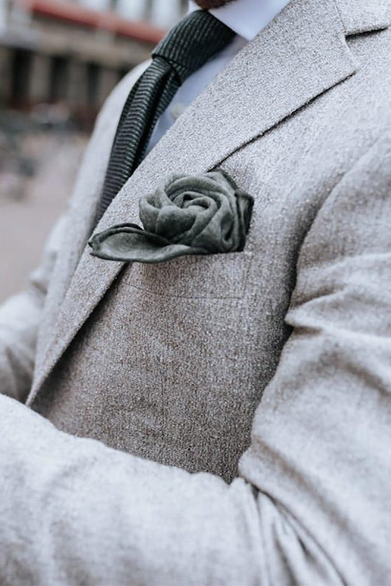 maatpak met pochet licht grijs