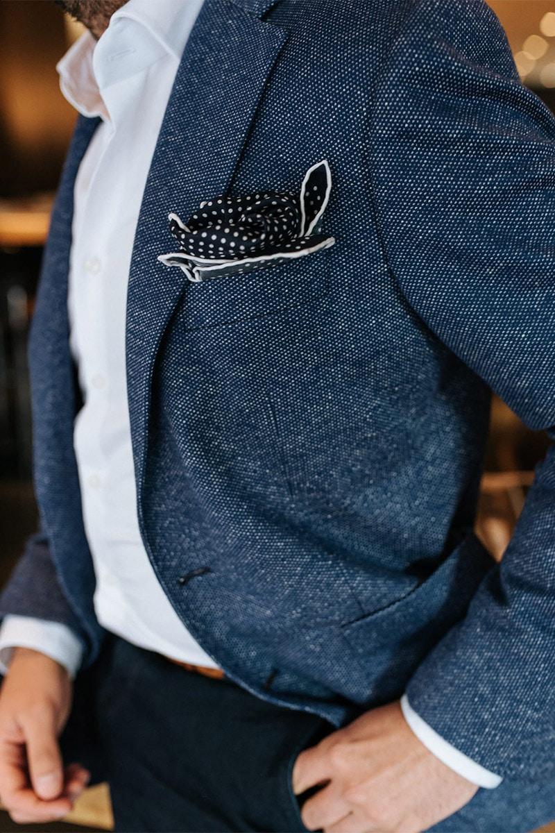 blauw maatpak met pochet
