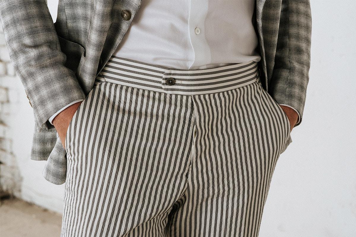beige wit gestreepte pantalon