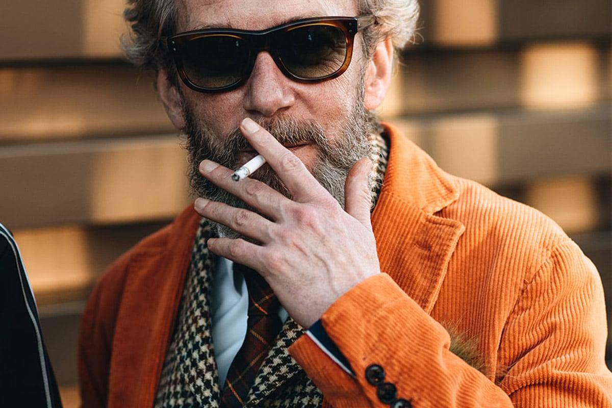fel oranje corduroy smoking