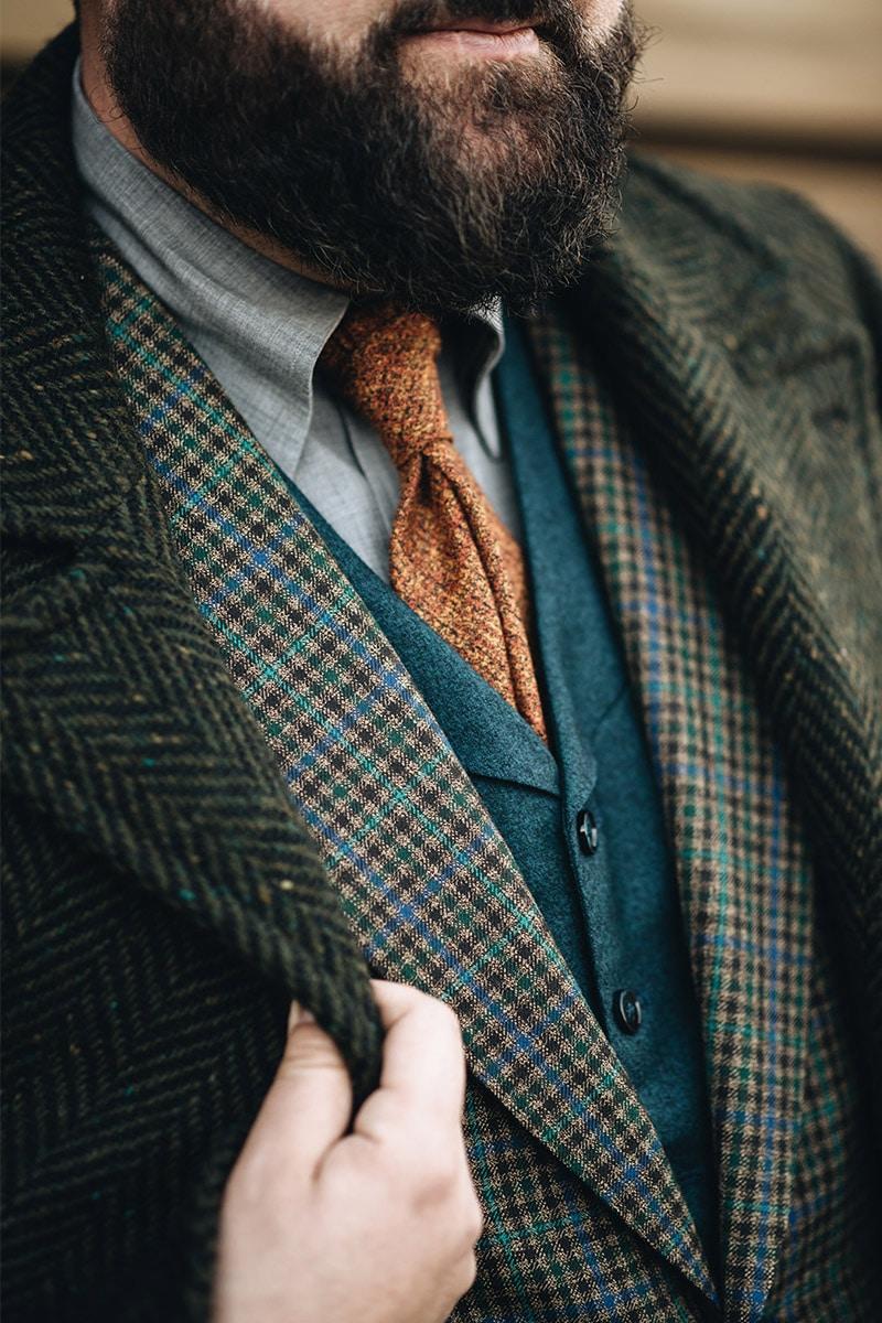 groen vissengraat jas
