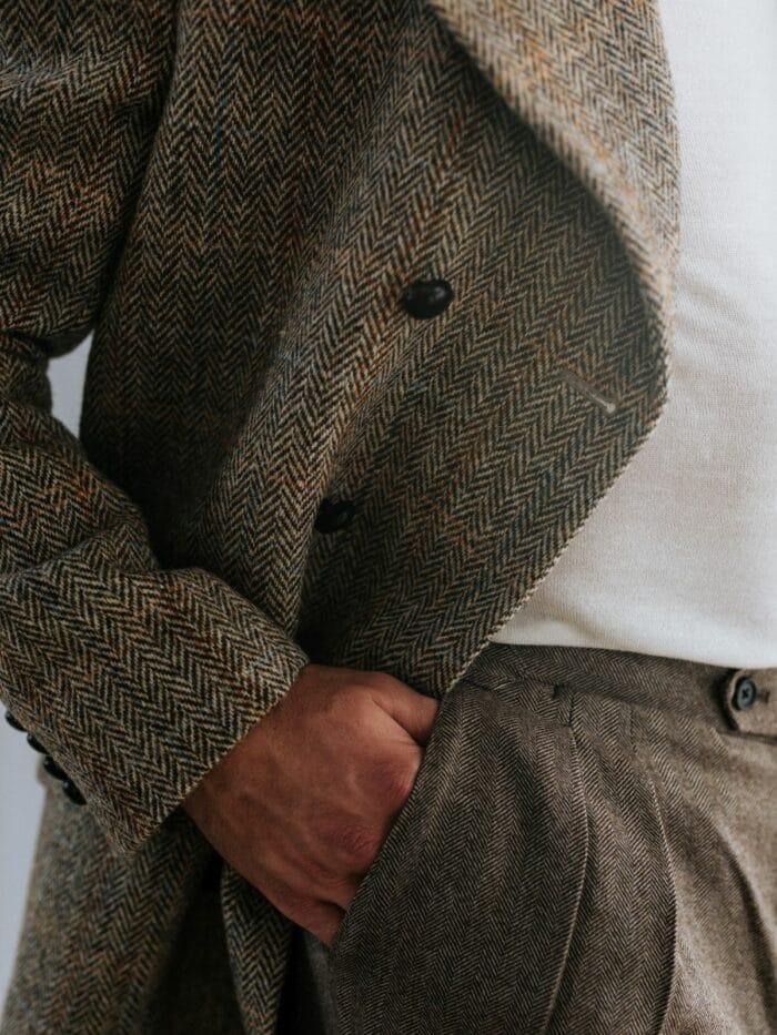 Overjas tweed bruin