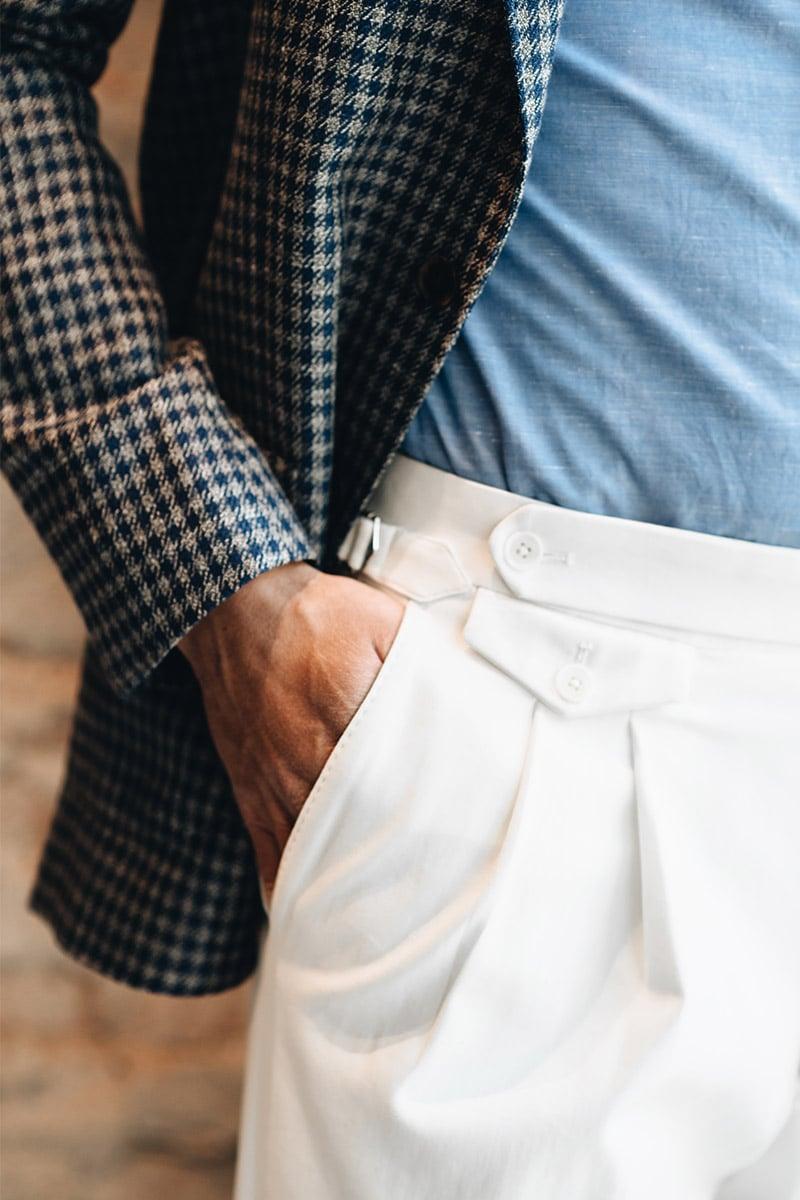 witte bandplooi broek