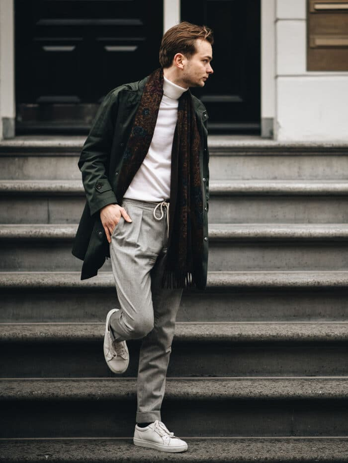 grijze flannel broek