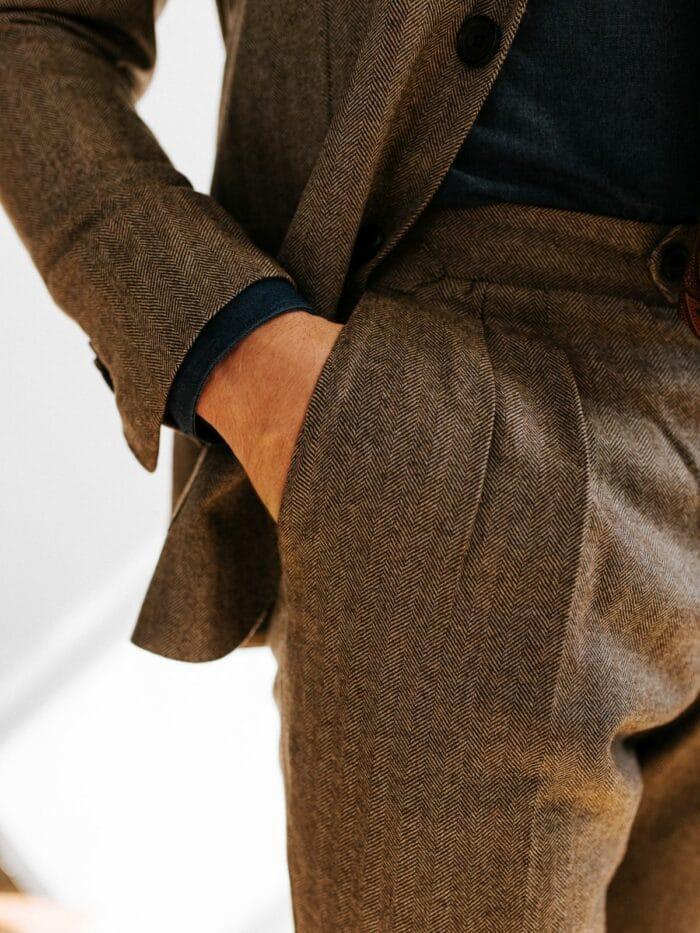 pantalon gestreept donkerbruin