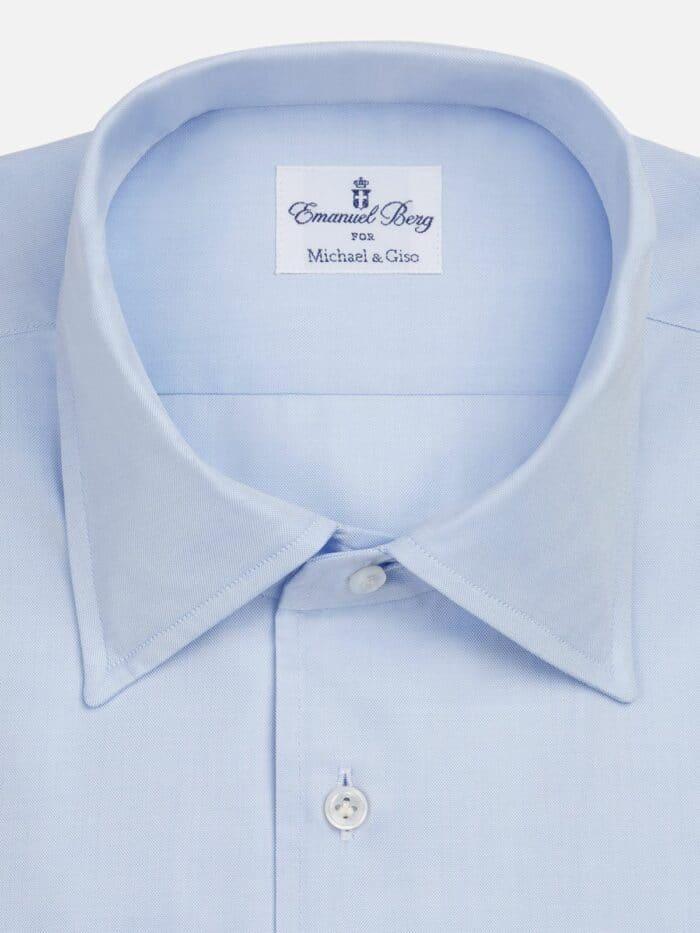 Lichtblauw effen overhemd cut away