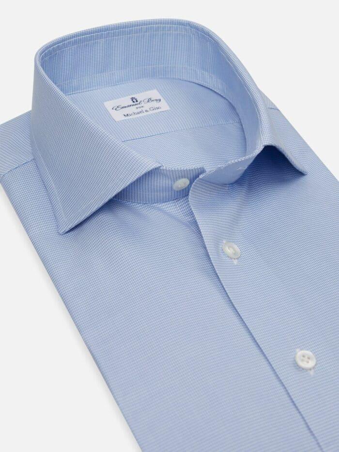 blauw kleine ruitjes overhemd