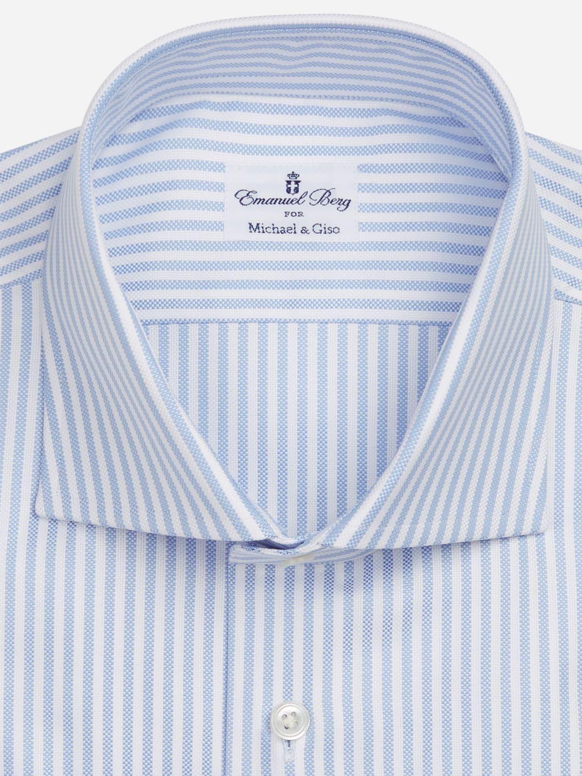 casual wit blauw gestreept shirt extremem cut-away