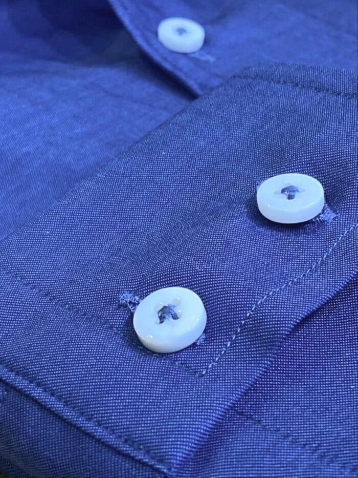 double button mouw blauw