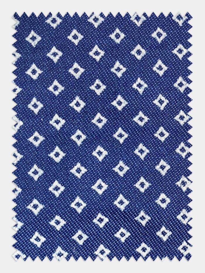 denim stof met wit ruit patroon geborduurd