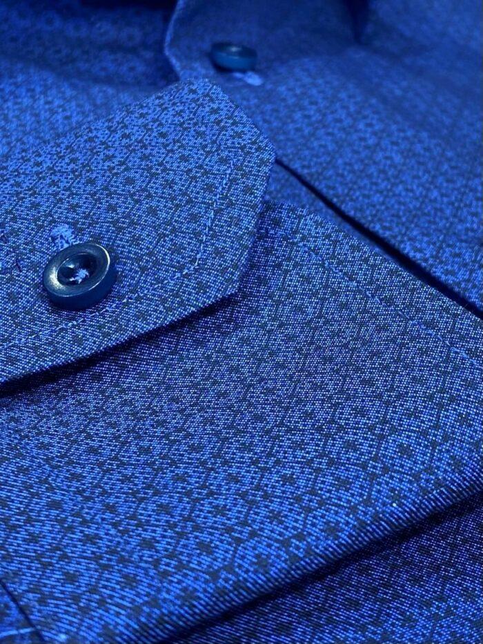cut corner 1 knoop shirt print blauw