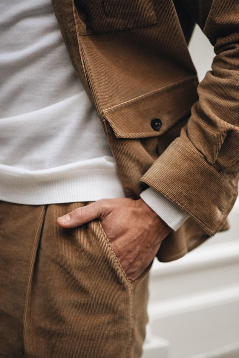 camel corduroy pantalon en overshirt