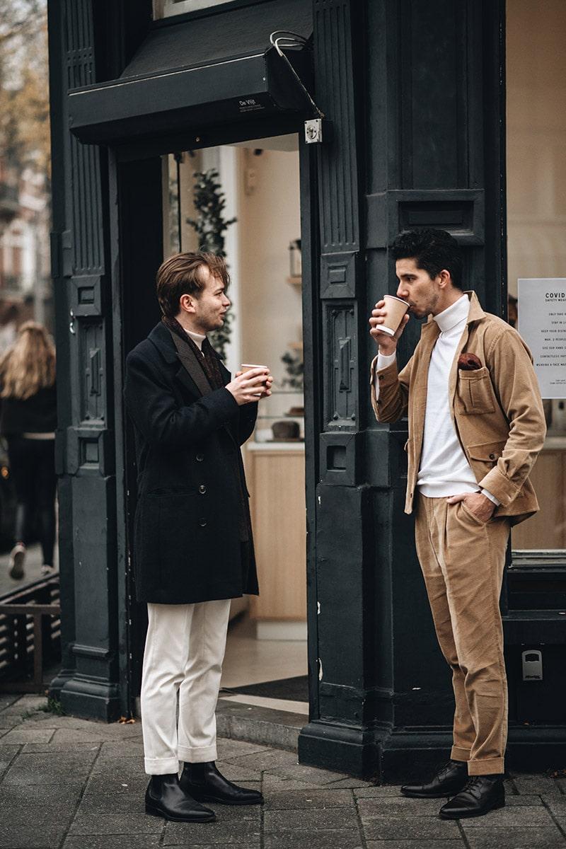koffie drinken voor winkel