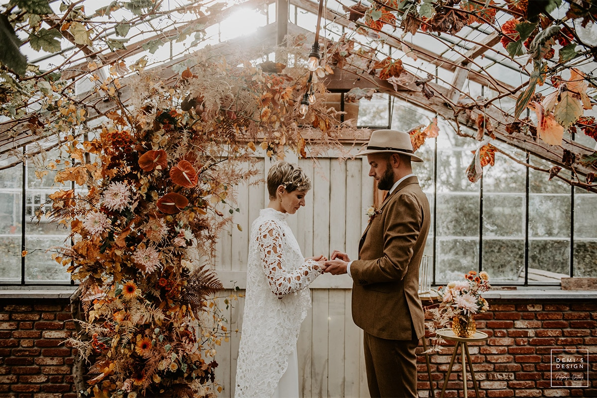 trouwpak met hoed, Burnt orange trouwen