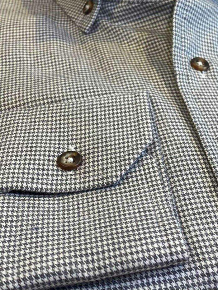 zwart pied de poule shirt met chest pocket