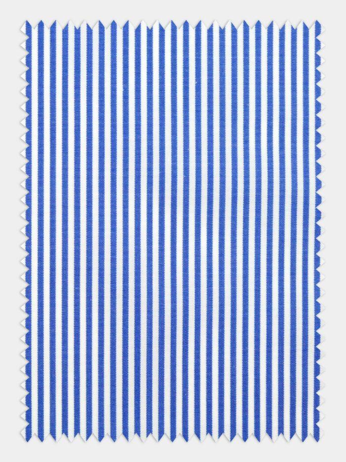 wit donkerblauw poplin streep