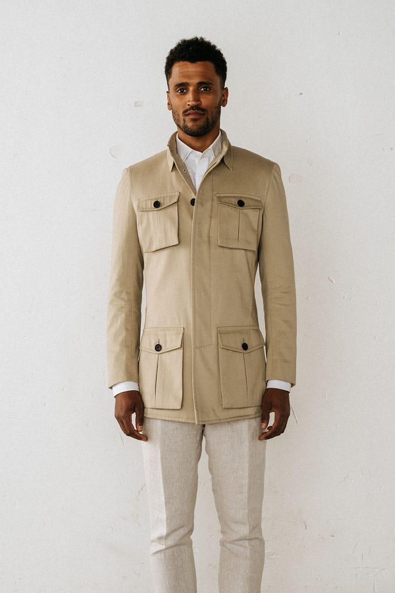 safari jasje trend met linnen pantalon