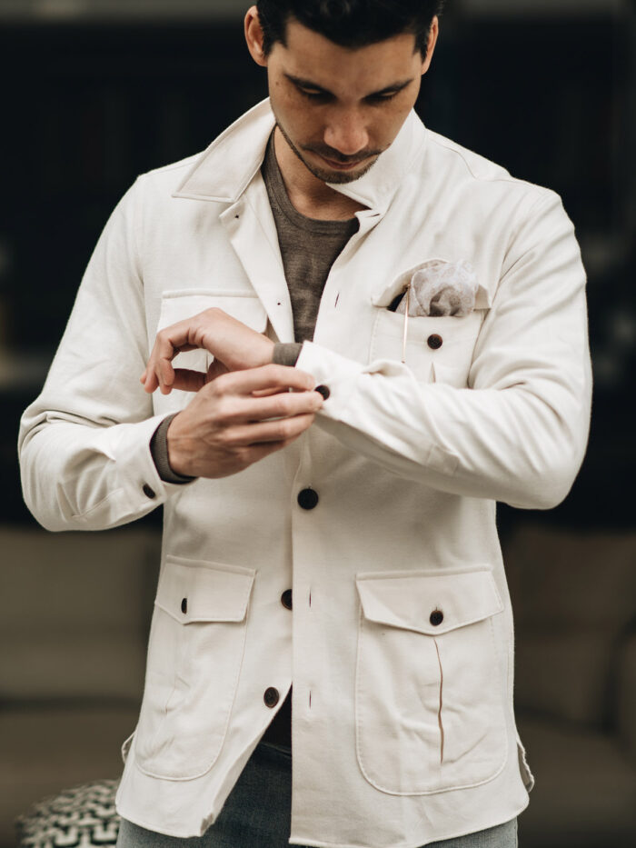 licht creme linnen overhemd met zakken