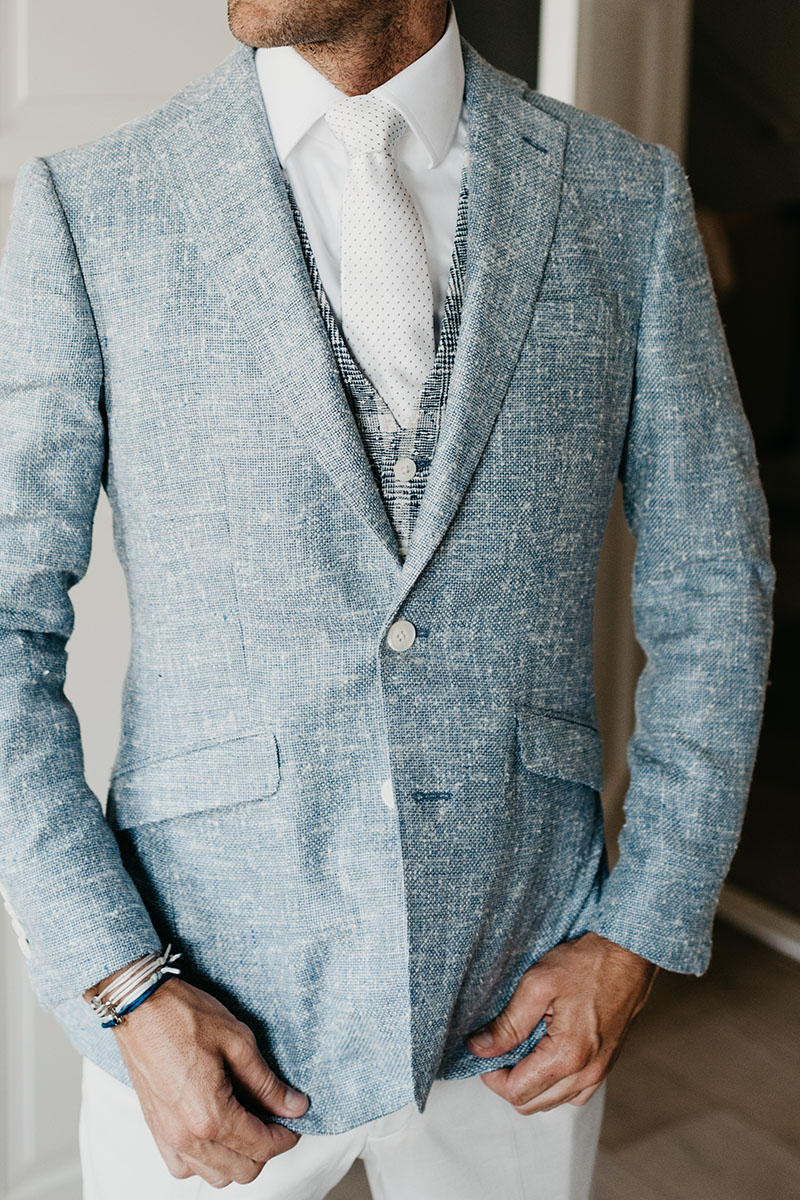 blauw linnen pak op maat