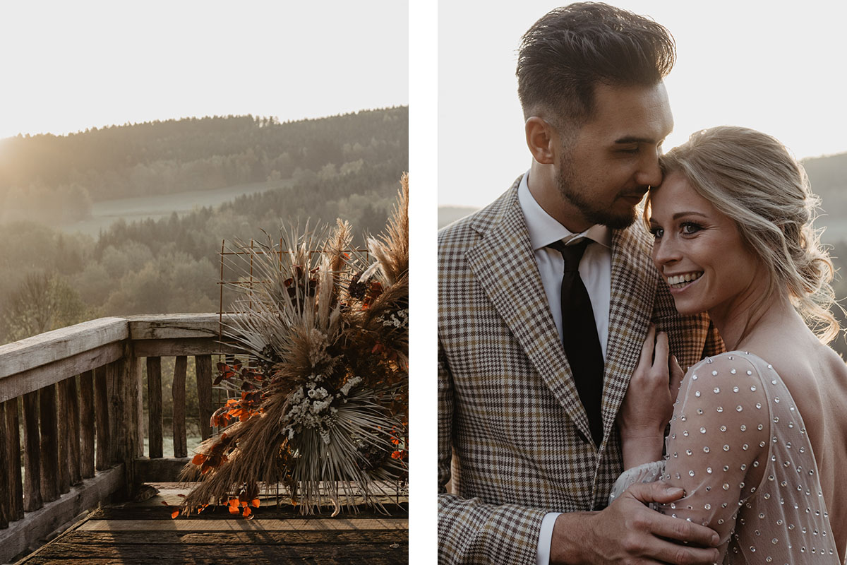 vintage wedding in geruit pak