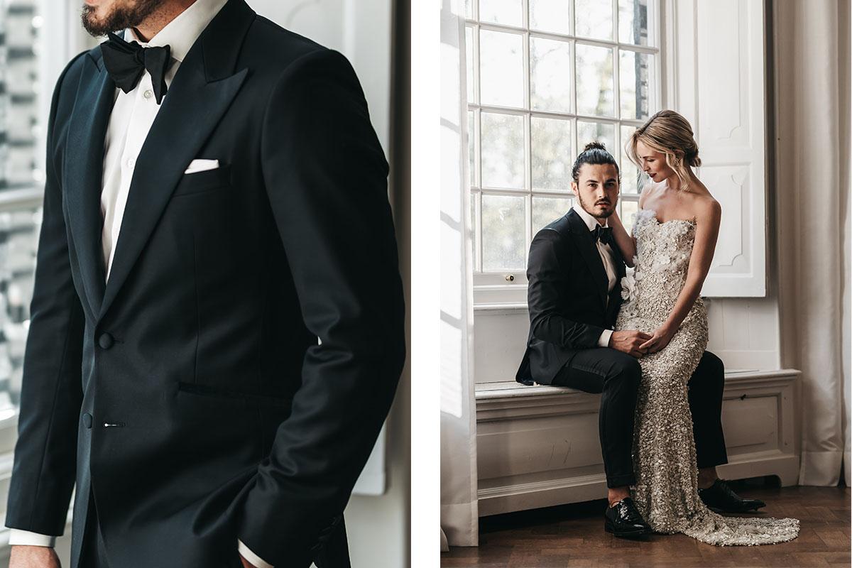bruidspaar chique bruiloft